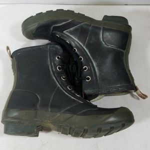 Hunter Black/Olive Lace Up Rain Boots